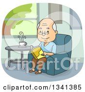 Cartoon Happy Senior Caucasian Man Reading A Book In A Chair