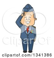 Clipart Of A Cartoon Senior White Male Veteran Saluting In His Suit Royalty Free Vector Illustration by BNP Design Studio