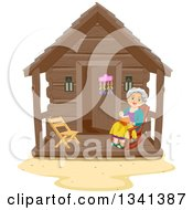 Happy Senior White Woman Reading A Book In A Rocking Chair At A Log Cabin Porch