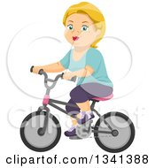 Clipart Of A Happy Blond White Senior Woman Riding A Bicycle Royalty Free Vector Illustration