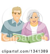 Clipart Of A Happy Senior White Woman Looking Through A Book With A Caregiver Or Her Grandson Royalty Free Vector Illustration