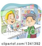 Cartoon Senior White Woman Picking Up A Prescription In A Pharmacy