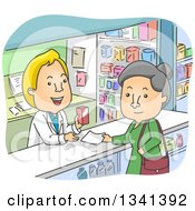 Clipart Of A Cartoon Senior White Woman Picking Up A Prescription In A Pharmacy Royalty Free Vector Illustration by BNP Design Studio
