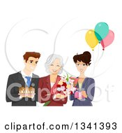 Clipart Of A Happy Senior Woman Reciving Gifts Cake And Flowers At Her Retirement Office Party Royalty Free Vector Illustration