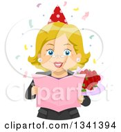 Clipart Of A Happy Blond White Senior Woman Holding Roses And Reading A Retirement Card At A Party Royalty Free Vector Illustration