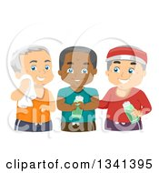 Clipart Of A Group Of Happy Male Senior Citizens Working Out Together Royalty Free Vector Illustration