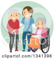 Clipart Of A Happy White Female Caregiver Helping Senior Patients Royalty Free Vector Illustration by BNP Design Studio