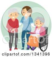 Happy White Female Caregiver Helping Senior Patients