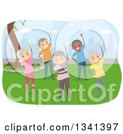 Clipart Of A Group Of Happy White And Black Senior Citizens Exercising In A City Park Royalty Free Vector Illustration