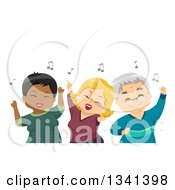 Clipart Of White And Black Senior Citizens Having Fun And Dancing At A Party Royalty Free Vector Illustration