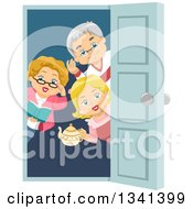 Clipart Of A Happy Senior Caucasian Man And Women Welcoming For A House Party At A Door Royalty Free Vector Illustration