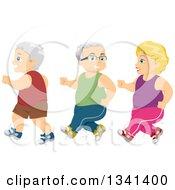 Senior Caucasian Women And Men Jogging For Exercise