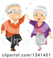 Clipart Of A Senior Caucasian Couple Having Fun And Dancing Royalty Free Vector Illustration