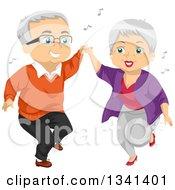 Senior Caucasian Couple Having Fun And Dancing