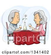 Cartoon Caucasian Senior Couple Having A Romantic Dinner Date