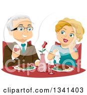 Clipart Of A Happy Senior Caucasian Couple Dining At A Fine Restaurant Royalty Free Vector Illustration
