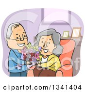Cartoon Senior Caucasian Man Giving His Wife Flowers