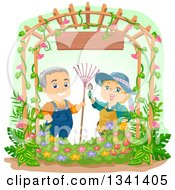 Happy Caucasian Senior Couple Gardening Together Under An Arch With A Wood Sign