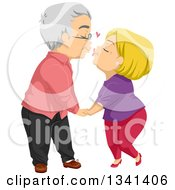 Clipart Of A Loving Senior Caucasian Couple Kissing Royalty Free Vector Illustration