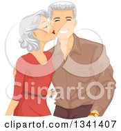 Clipart Of A Loving Senior Caucasian Woman Kissing Her Husband On The Cheek Royalty Free Vector Illustration