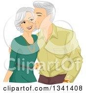 Loving Senior Caucasian Man Kissing His Wife On The Cheek