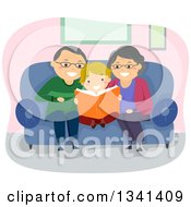 Cartoon Senior Caucasian Grandparents Reading A Book To Their Grandson