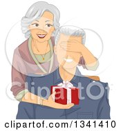 Clipart Of A Happy Senior Caucasian Woman Covering Her Husbands Eyes And Surprising Him With A Gift Royalty Free Vector Illustration