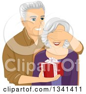 Clipart Of A Happy Senior Caucasian Man Covering His Wifes Eyes And Surprising Her With A Gift Royalty Free Vector Illustration