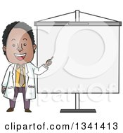 Clipart Of A Cartoon Happy Black Male Doctor Pointing To A Presentation Board Royalty Free Vector Illustration by BNP Design Studio