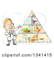 Clipart Of A Cartoon Happy White Male Doctor Discussing The Food Pyramid Royalty Free Vector Illustration
