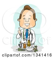 Clipart Of A Cartoon Happy White Male Naturopathic Doctor Giving A Thumb Up Over Herbal Medicine Royalty Free Vector Illustration