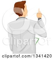 Clipart Of A Rear View Of A Brunette White Male Doctor Pointing Royalty Free Vector Illustration
