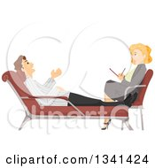 Clipart Of A Red Haired White Female Therapist Talking To A Patient Royalty Free Vector Illustration by BNP Design Studio