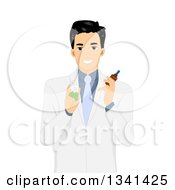 Clipart Of An Asian Male Doctor Holding Pill And Tincture Bottles Royalty Free Vector Illustration by BNP Design Studio