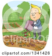 Cartoon Blond White Man Dumping Food Scraps In A Garden Compost Pit