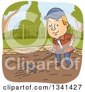 Cartoon Red Haired White Man Raking Soil In A Garden Bed