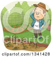 Cartoon Brunette White Man Pondering Over Wilting Plants In A Garden Bed
