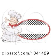Clipart Of A Sketched Chubby White Male Chef Touching The Tip Of His Mustache By A Checkered Oval Label Royalty Free Vector Illustration