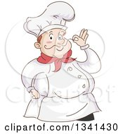 Clipart Of A Sketched Chubby White Male Chef Touching The Tip Of His Mustache Royalty Free Vector Illustration