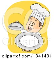 Clipart Of A Cartoon Happy White Male Chef Holding Up An Empty Cloche Platter Royalty Free Vector Illustration