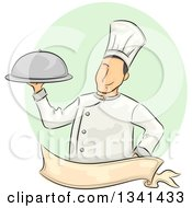 Clipart Of A Sketched White Male Chef Holding A Cloche Platter Over A Blank Ribbon Banner And Purple Oval Royalty Free Vector Illustration