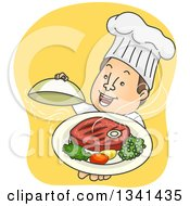 Cartoon Happy White Male Chef Holding Up A Steak Meal