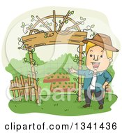 Clipart Of A Cartoon Blond White Man Welcoming By His Garden Entrance Arch Royalty Free Vector Illustration