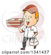Clipart Of A Cartoon White Male Pizza Delivery Man Carrying Boxes And A Bag Royalty Free Vector Illustration by BNP Design Studio