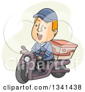 Clipart Of A Cartoon White Male Food Delivery Man With A Box On His Scooter Royalty Free Vector Illustration