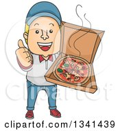 Clipart Of A Cartoon White Male Pizza Delivery Man Giving A Thumb Up And Holding An Open Box Royalty Free Vector Illustration