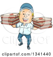 Clipart Of A Cartoon White Male Pizza Delivery Man Carrying Boxes On Both Hands Royalty Free Vector Illustration