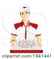Clipart Of A Friendly Male Pizza Delivery Man Holding Out A Box Royalty Free Vector Illustration