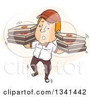 Clipart Of A Cartoon Unsteady White Male Pizza Delivery Man Carrying Boxes On Both Hands Royalty Free Vector Illustration