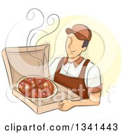 Clipart Of A Sketched Happy White Male Pizza Delivery Man Holding A Hot Box Royalty Free Vector Illustration